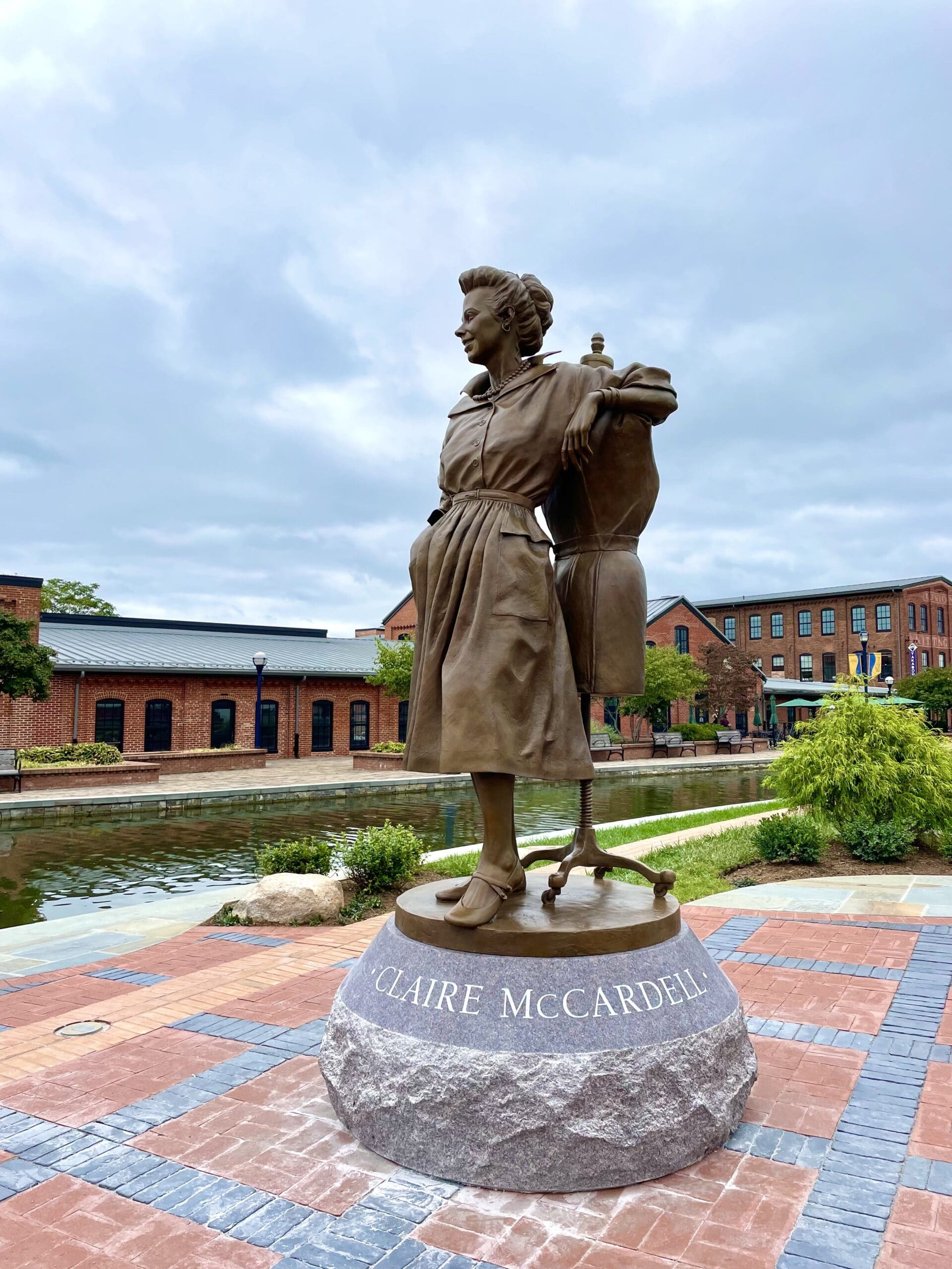 Claire McCardell    7.5' Bronze    Carroll Creek Park, Frederick, Maryland